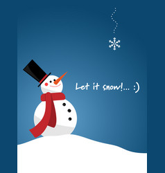 snowman with red scarf vector image