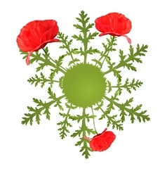 spring circular background with poppy vector image