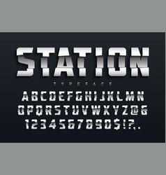 Station futuristic display typeface design vector