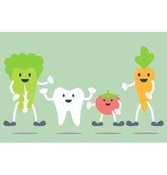 teeth and vegetable best friend vector image