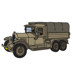the vintage sand military truck vector image