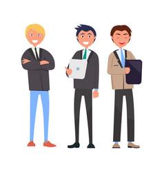 three self-confident men in elegant suits vector image