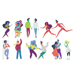 tiny trendy abstract people couples in seasonal vector image