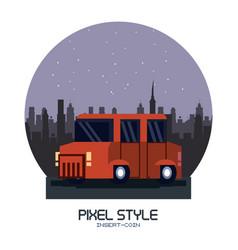 truck pixelated isolated vector image