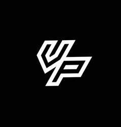 Vp logo monogram with up to down style negative vector