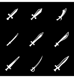 white sword icon set vector image