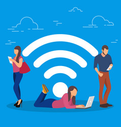 Wi-fi concept people using vector