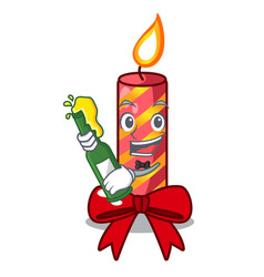 with beer decorative christmas candles isolated on vector image