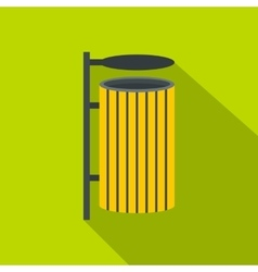 Yellow litter waste bin icon flat style vector