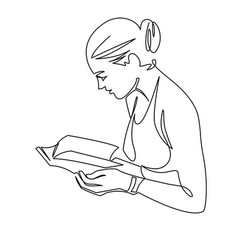 Young woman reading book continuous one line vector