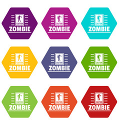 Zombie danger icons set 9 vector