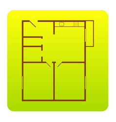 apartment house floor plans brown icon at vector image