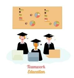 Education teamwork infographics template vector image