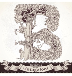 Fable forest hand drawn by a vintage font - b vector