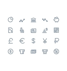 Finance and bank icons Line series vector image vector image