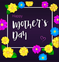 happy mother day greeting banner with white frame vector image