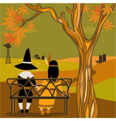 Kids in Thanksgiving costumes sitting under a tree vector image