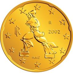 Obverse Italian money gold euro coin vector image