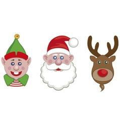 portraits of santa elf and reindeer vector image vector image