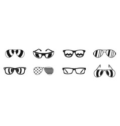 sun glasses icon set simple style vector image