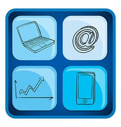 A cube with gadgets vector image vector image