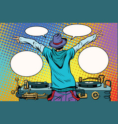 dj party vinyl panel view from behind vector image