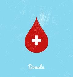 Donate blood bag on blue background vector image vector image