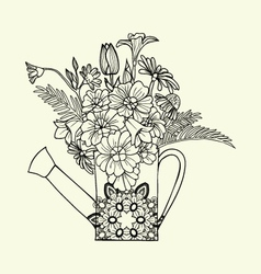 Hand drawn decorated image watering can with flowe vector image vector image