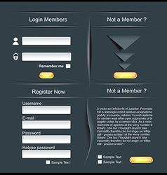 Login and register web screens vector image