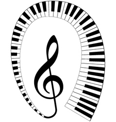 treble clef with keyboard vector image