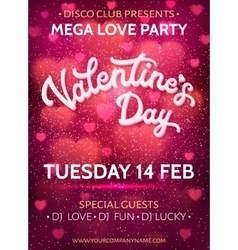 Valentines Day party poster with 3d hand lettering vector image vector image