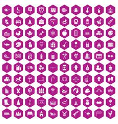 100 preschool education icons hexagon violet vector