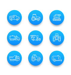 agricultural machinery line icons set vector image vector image