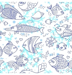 Background underwater world Seamless pattern with vector image