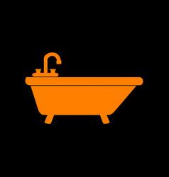 bathtub sign orange icon on black vector image vector image