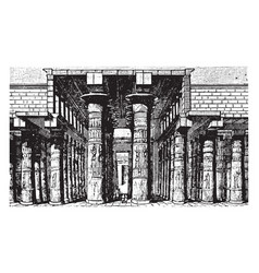 columned hall of temple of karnak egypt vintage vector image