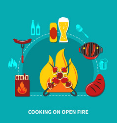 cooking on open fire vector image vector image