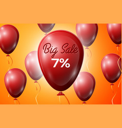 red balloons with an inscription big sale seven vector image
