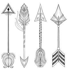 ethnic Arrows in zentangle designconcept Hand vector image
