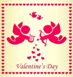 frame with cupid and heart vector image vector image