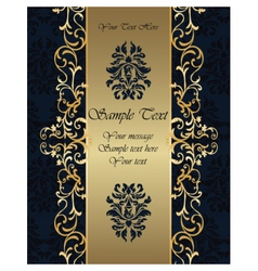 Golden Invitation card with ornaments vector image