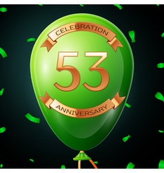 Green balloon with golden inscription fifty three vector image