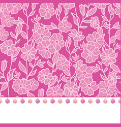 Pompom border trim on pink flowers seamless vector