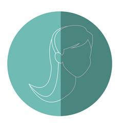 silhouette face woman head long hair vector image