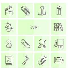 14 clip icons vector