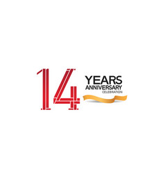 14 years anniversary template with red color vector