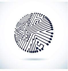 abstract computer circuit board circular vector image