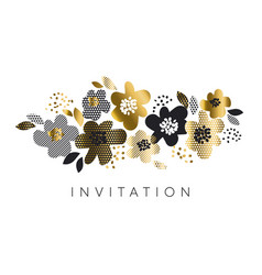 abstract luxury gold and black floral pattern vector image