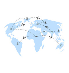air travels around the world vector image