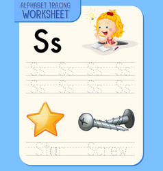 Alphabet tracing worksheet with letter s and s vector